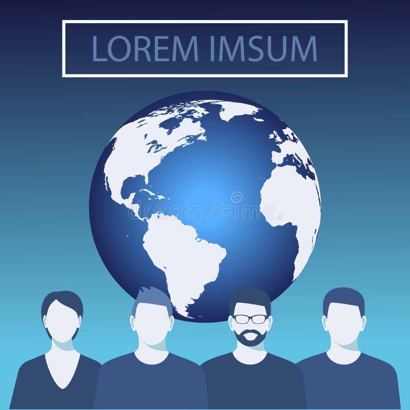 De vectorillustratie van de wereldbol blauwe planeet, vectorachtergrond Commercieel team Bedrijfs mensen vector illustratie