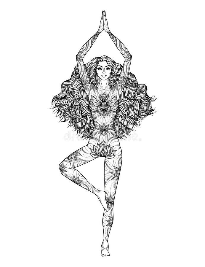 De Vectorillustratie van de yogavrouw Stel Vrikshasana De Meditatie van het meisje vector illustratie
