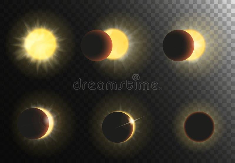 De vectorillustratie van de zonverduistering Verschillende fasen van zonneverduisteringsreeks royalty-vrije illustratie