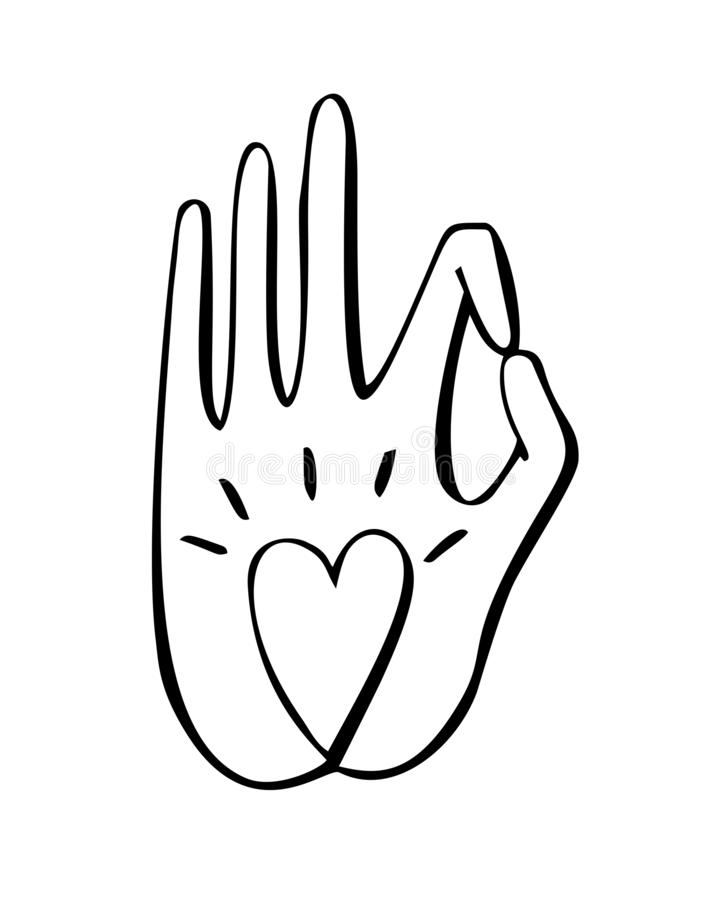 De vectorillustratie van dient een boeddhistisch gebaar met een hartsymbool in vector illustratie