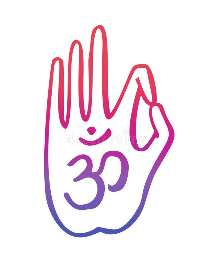 De vectorillustratie van dient een boeddhistisch gebaar met het Om symbool in royalty-vrije illustratie