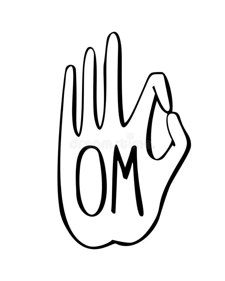 De vectorillustratie van dient een boeddhistisch gebaar met Om woord in royalty-vrije illustratie
