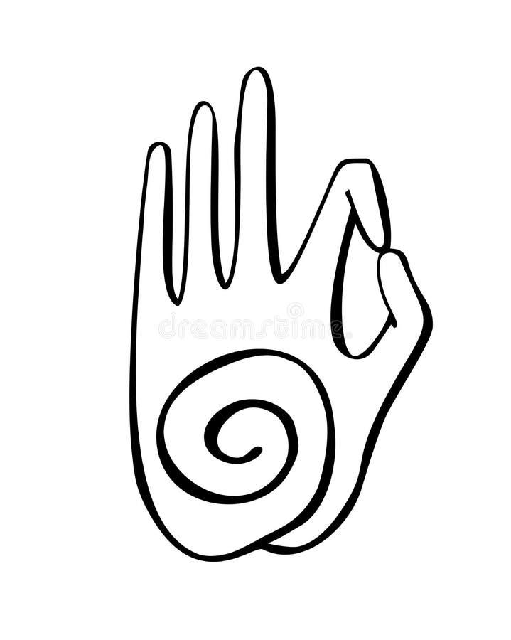 De vectorillustratie van dient een boeddhistisch gebaar met een spiraalvormig symbool in stock illustratie
