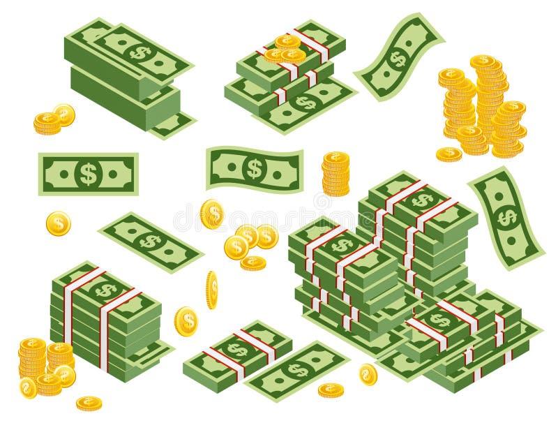 De vectorillustratie van dollarsbundels verspreidde zich, gestapeld met verschillende die kanten op witte achtergrond worden geïs stock illustratie