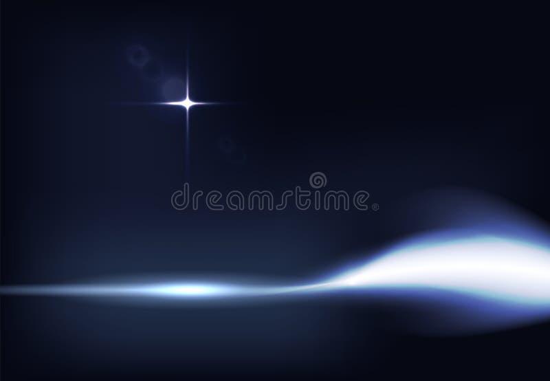 De vectorillustratie van donkerblauwe banner met het gloeien lichteffect met stralen en lens flakkert royalty-vrije stock foto