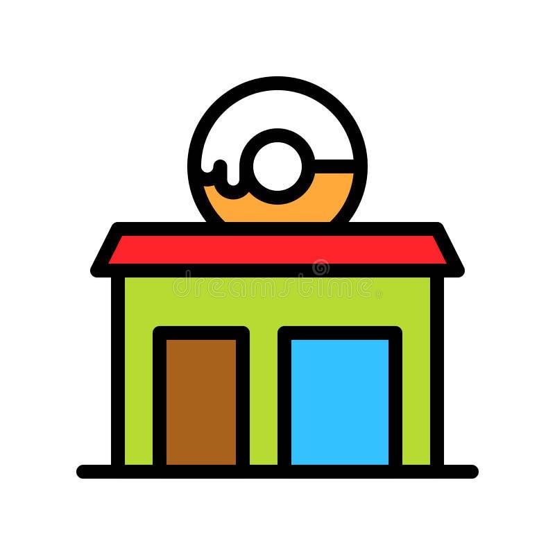 De vectorillustratie van de doughnutwinkel, het gevulde editable overzicht van het stijlpictogram stock illustratie