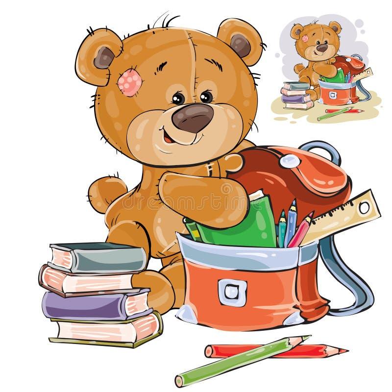 De vectorillustratie van een bruine teddybeer houdt boeken en potloden in een schoolschooltas vector illustratie
