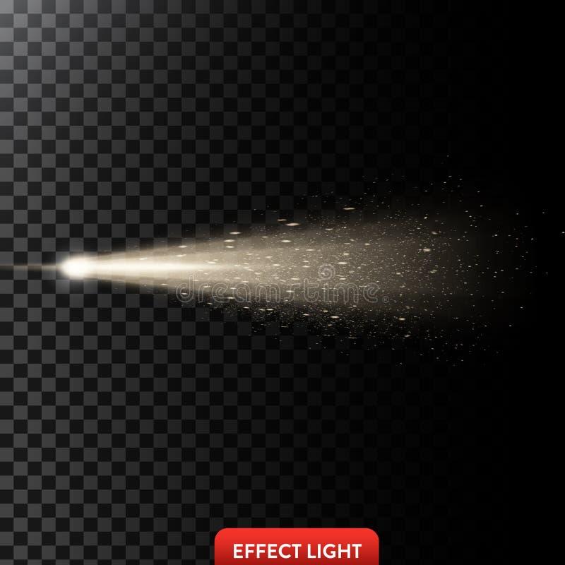 De vectorillustratie van een gouden lichte straal met schittert, een lichtstraal met vonken royalty-vrije illustratie