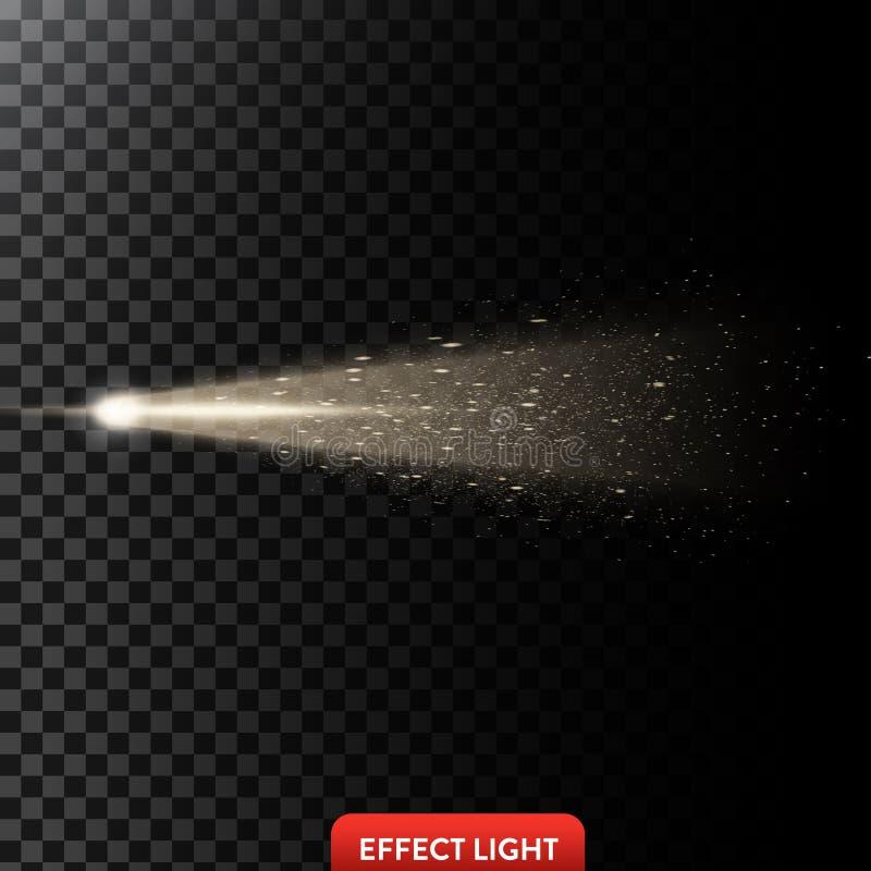 De vectorillustratie van een gouden lichte straal met schittert, een lichtstraal met vonken royalty-vrije stock afbeeldingen