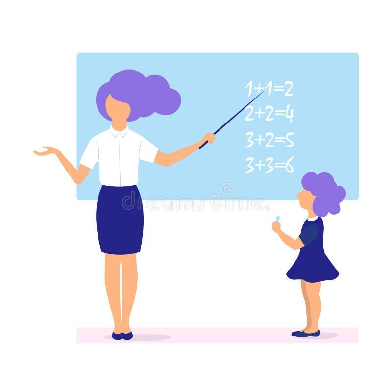 De vectorillustratie van een jonge leraar leidt een les, beslist een student een voorbeeld bij het bord vector illustratie