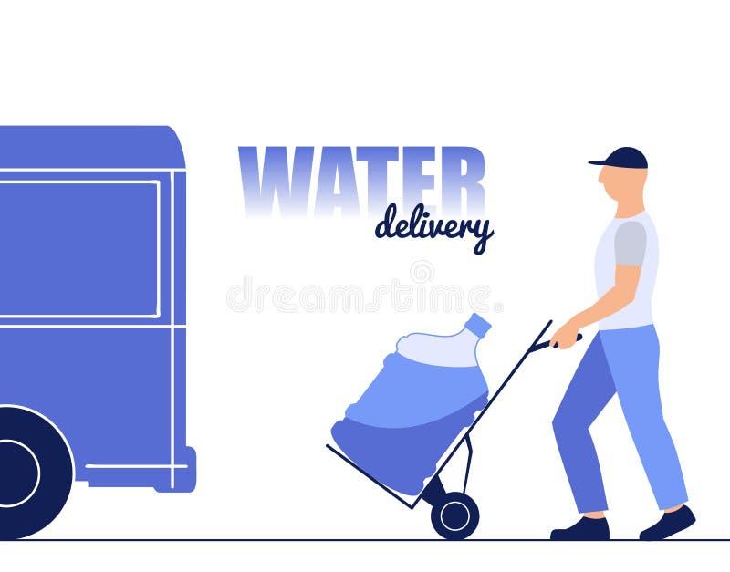 De vectorillustratie van een jonge mens brengt een fles water, leverend water royalty-vrije illustratie