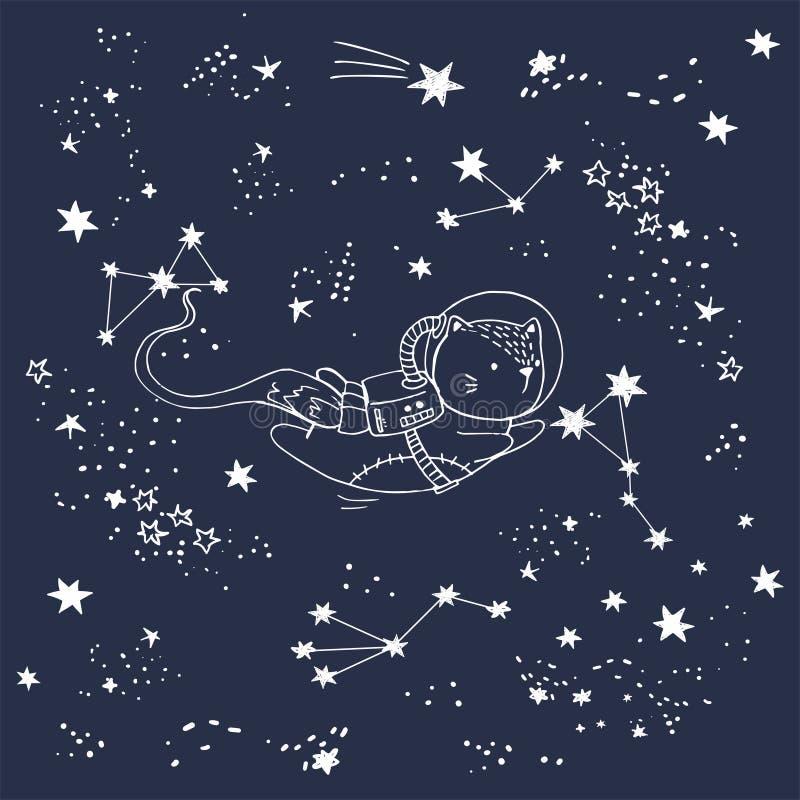De vectorillustratie van een kat in ruimte met constellaties, vallende sterren, hand getrokken kaart, kan als druk voor t-shirt w vector illustratie