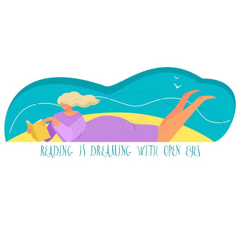De vectorillustratie van een meisje die een boek op een strand het In stijl en kleuren Lezen lezen droomt met open ogen royalty-vrije illustratie