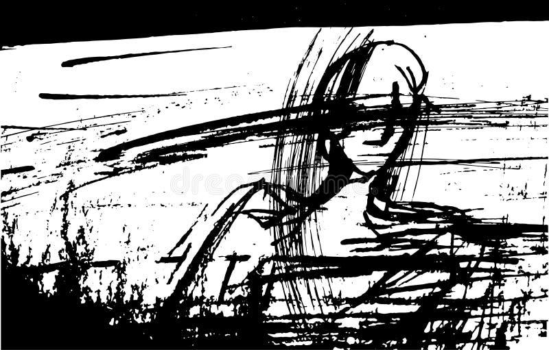 De vectorillustratie van een mens met zijn gesloten ogen, stileerde, grafisch, inkt, lijnen, vlekken, stock illustratie
