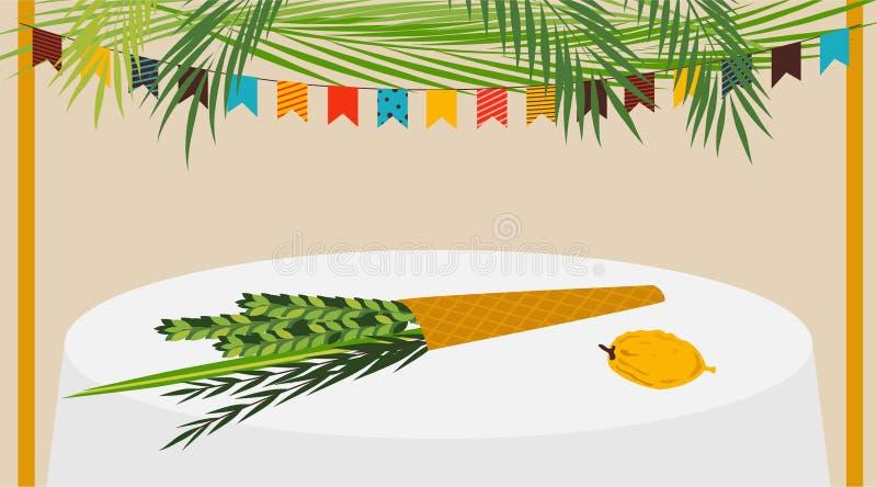 De vectorillustratie van een Sukkah verfraaide met ornamenten voor de Joodse Vakantie Sukkot stock illustratie