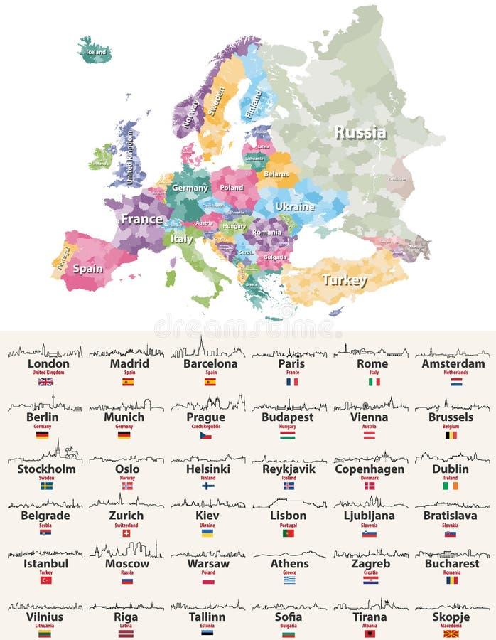 De vectorillustratie van Europa detailleerde hoog de kaart van gebieden met Europese de overzichtenpictogrammen van stedenhorizon stock illustratie
