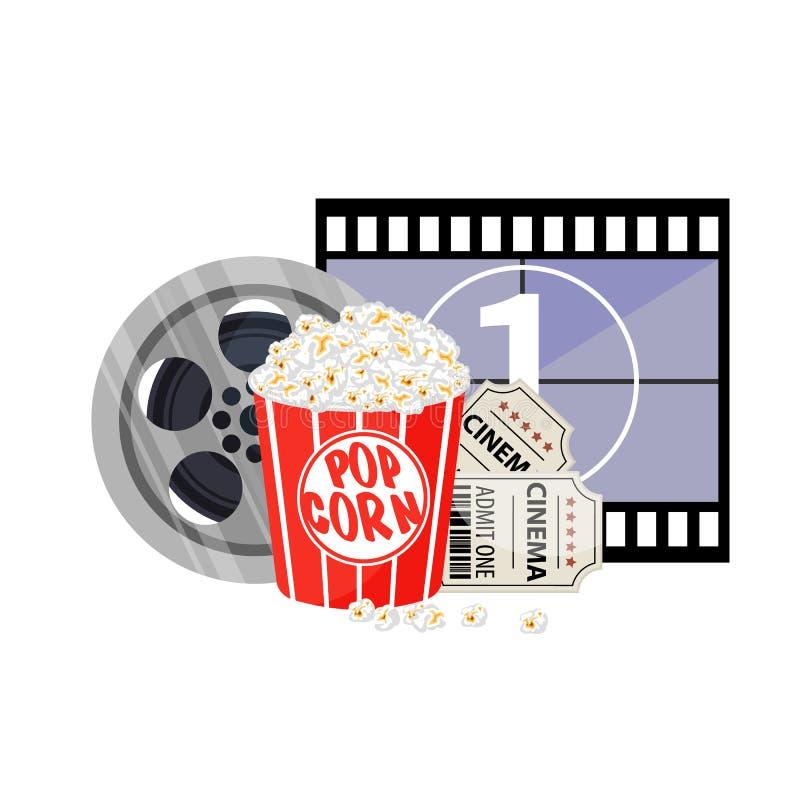 De Vectorillustratie van de filmtijd Het concept van de bioskoopaffiche op rode ronde achtergrond Samenstelling met popcorn, clap royalty-vrije illustratie