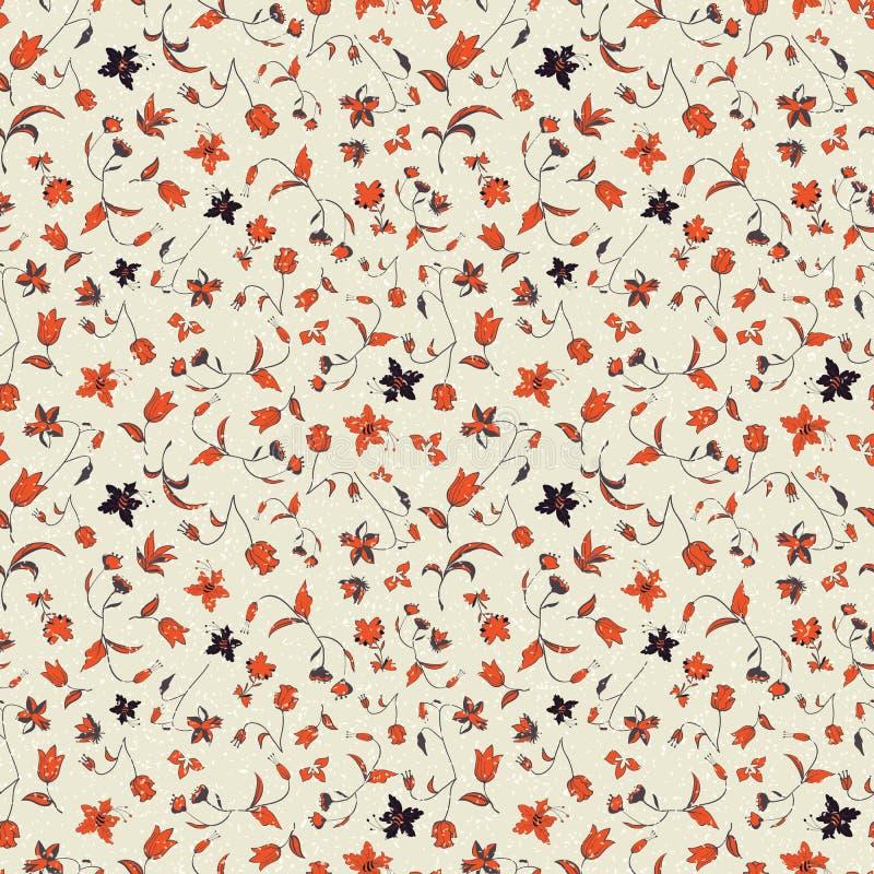 De vectorillustratie van gestileerde abstracte bloemen en ploetert textuur royalty-vrije illustratie