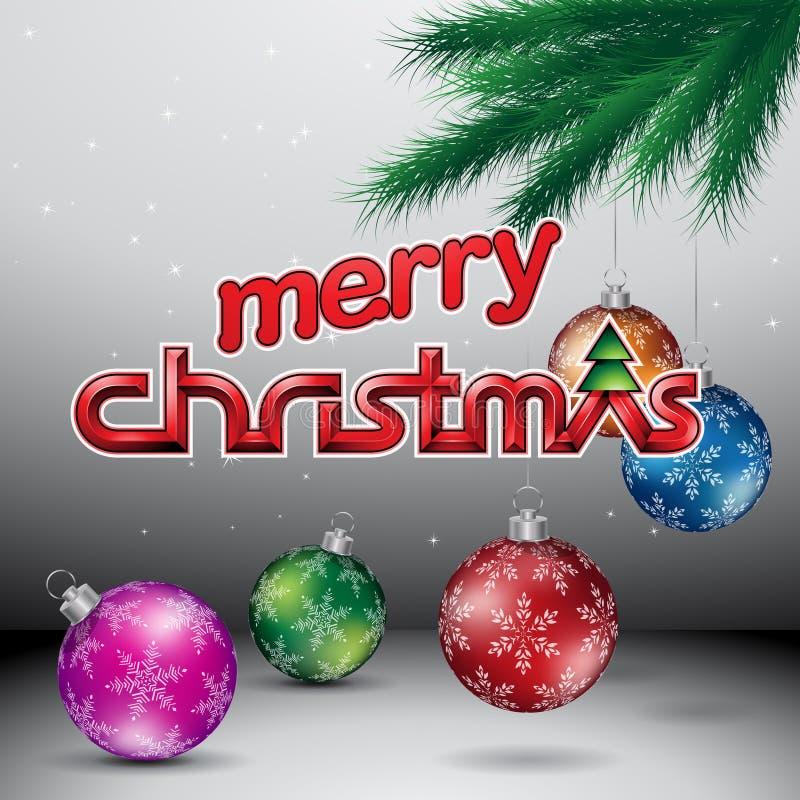 De Vectorillustratie van Grey Glossy Merry Christmas Background royalty-vrije illustratie