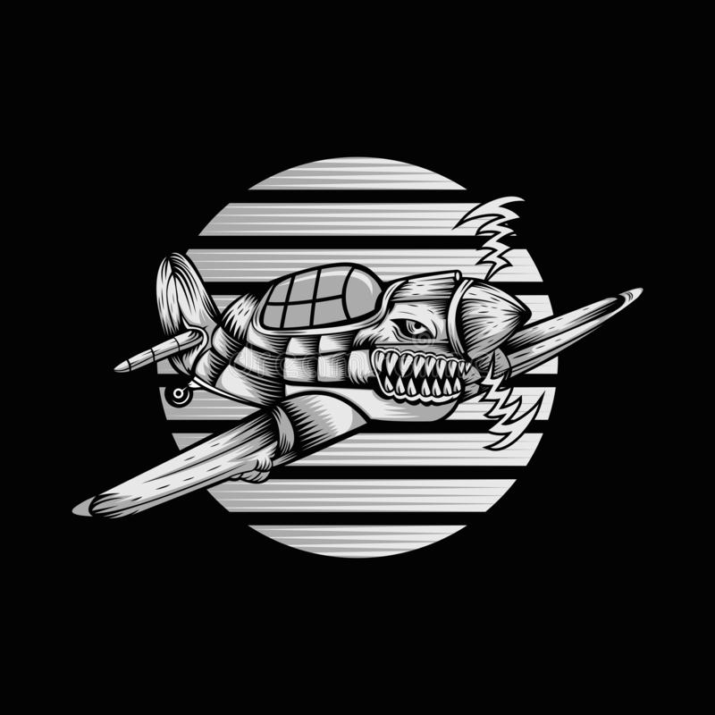 De Vectorillustratie van de haaiorkaan ariplane stock illustratie