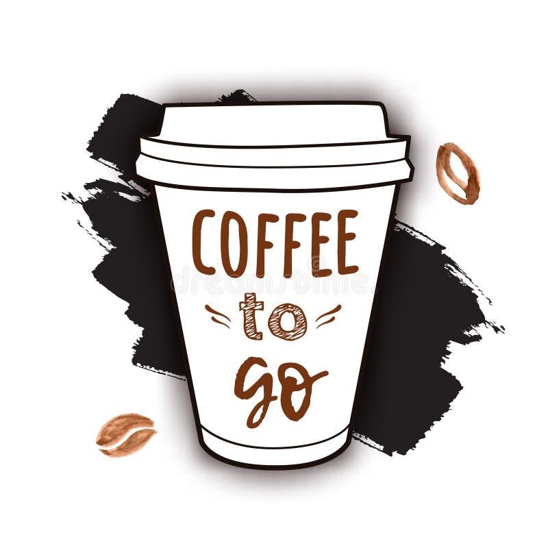 De vectorillustratie van haalt koffiekop met uitdrukking weg stock illustratie