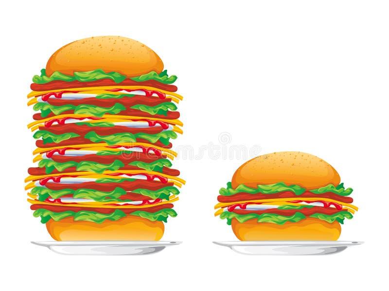 De vectorillustratie van hamburgers stock illustratie