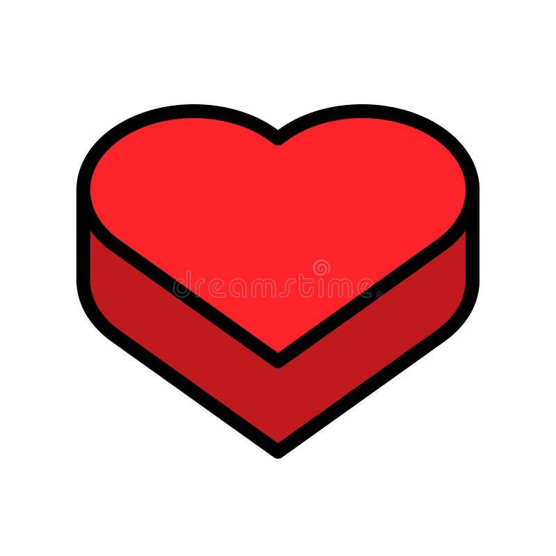 De vectorillustratie van de hartdoos, het gevulde editable overzicht van het stijlpictogram stock illustratie