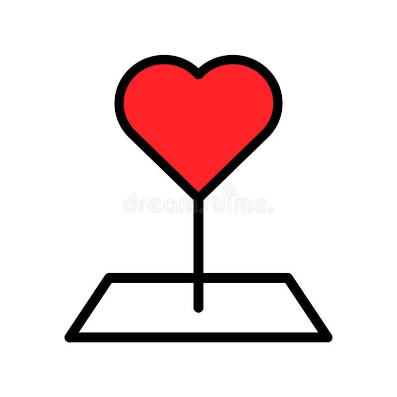 De vectorillustratie van de hartspeld, het gevulde editable overzicht van het stijlpictogram stock illustratie