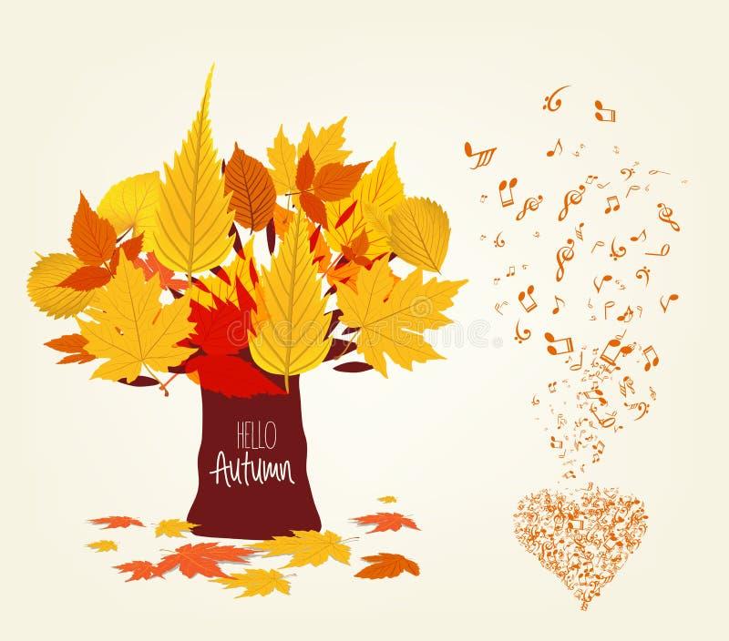 De vectorillustratie van de Herfst verlaat Ontwerp en de musical is mijn ziel vector illustratie