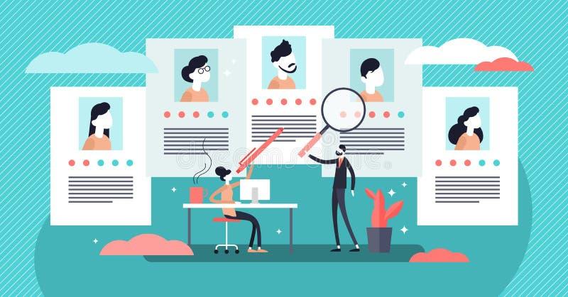De vectorillustratie van het baanagentschap Uiterst klein de personenconcept van werknemerskoppensnellers royalty-vrije illustratie