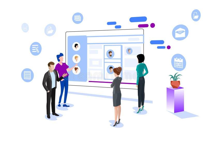 De vectorillustratie van het bedrijfsbureaugroepswerk stock illustratie
