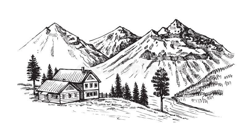 De vectorillustratie van het berglandschap stock illustratie