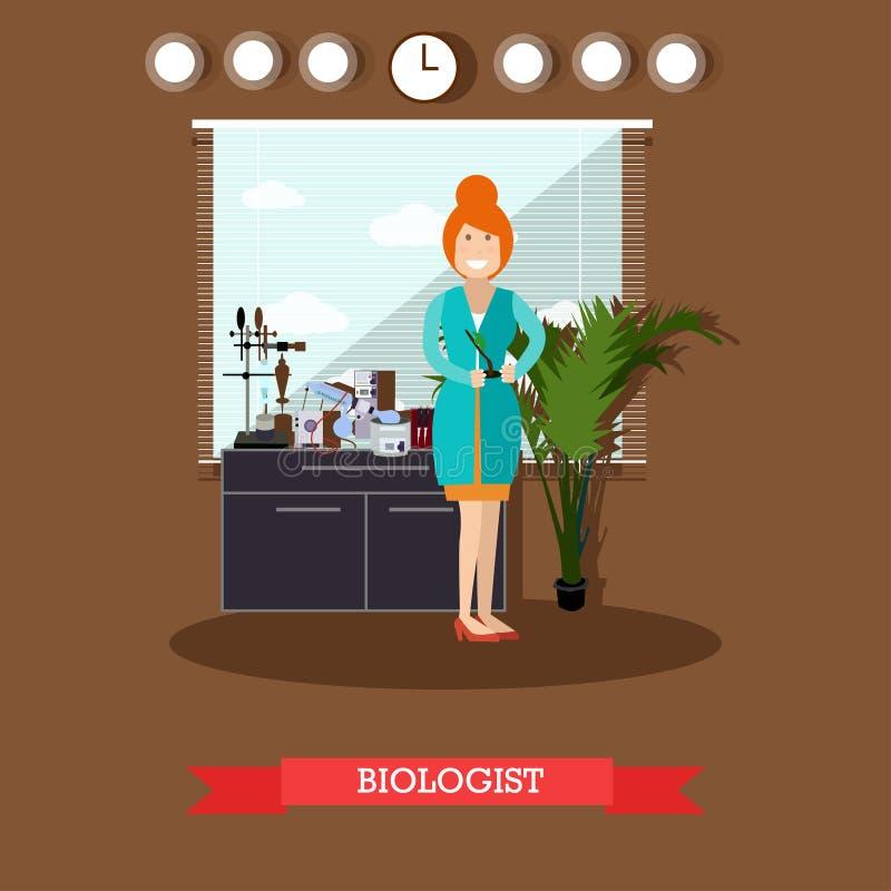 De vectorillustratie van het biologenconcept in vlakke stijl stock illustratie
