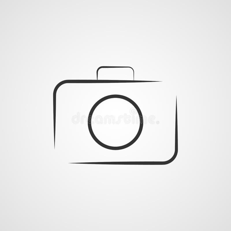 De vectorillustratie van het camerapictogram Geïsoleerd pohotocamerasymbool De lijnconcept van de fotocamera Het grafische ontwer vector illustratie