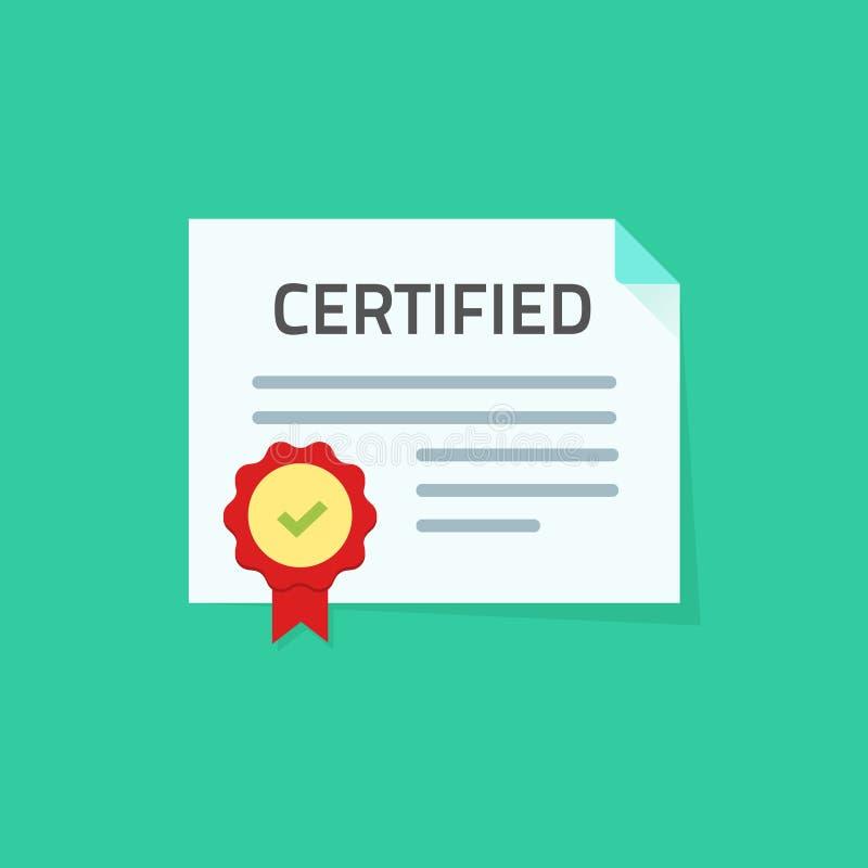 De vectorillustratie van het certificaatpictogram, vlak document document met goedgekeurde verbinding of zegel en verklaarde zege royalty-vrije illustratie
