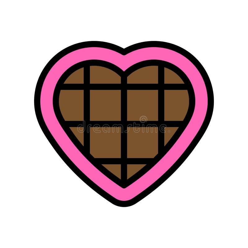 De vectorillustratie van het chocoladehart, het gevulde editable overzicht van het stijlpictogram royalty-vrije illustratie