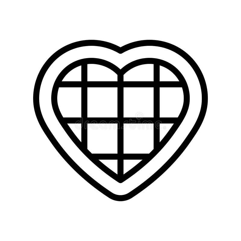 De vectorillustratie van het chocoladehart, het pictogram editable overzicht van de lijnstijl royalty-vrije illustratie
