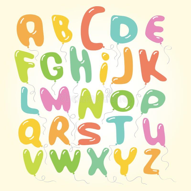 De vectorillustratie van het de brievenalfabet van de ballonsdoopvont vector illustratie