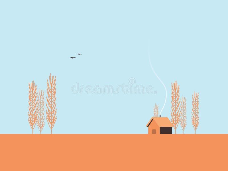 De vectorillustratie van het de herfstlandschap met populierbomen en minimalistic cabine Het malplaatjeconcept van de dalingspren royalty-vrije illustratie