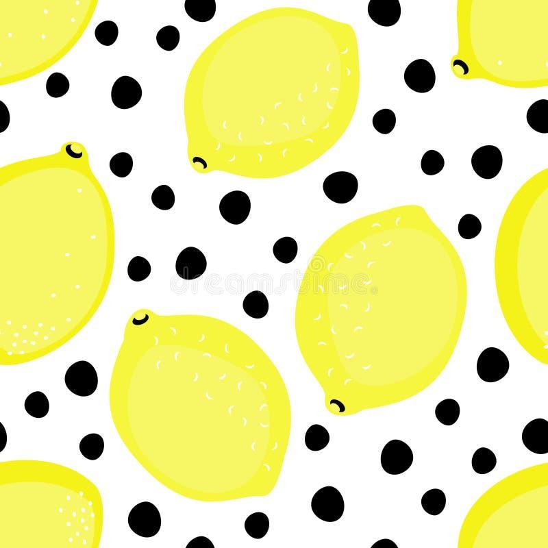 De vectorillustratie van het de zomerfruit op zwart-witte puntenachtergrond royalty-vrije illustratie