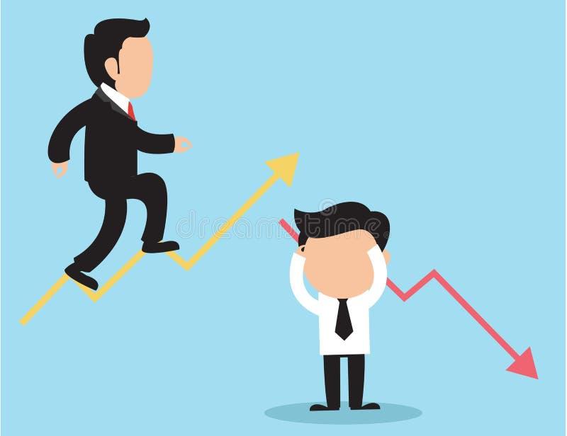 De vectorillustratie van het economisch besluitconcept Zakenman twee pijlen en richtingen stock illustratie