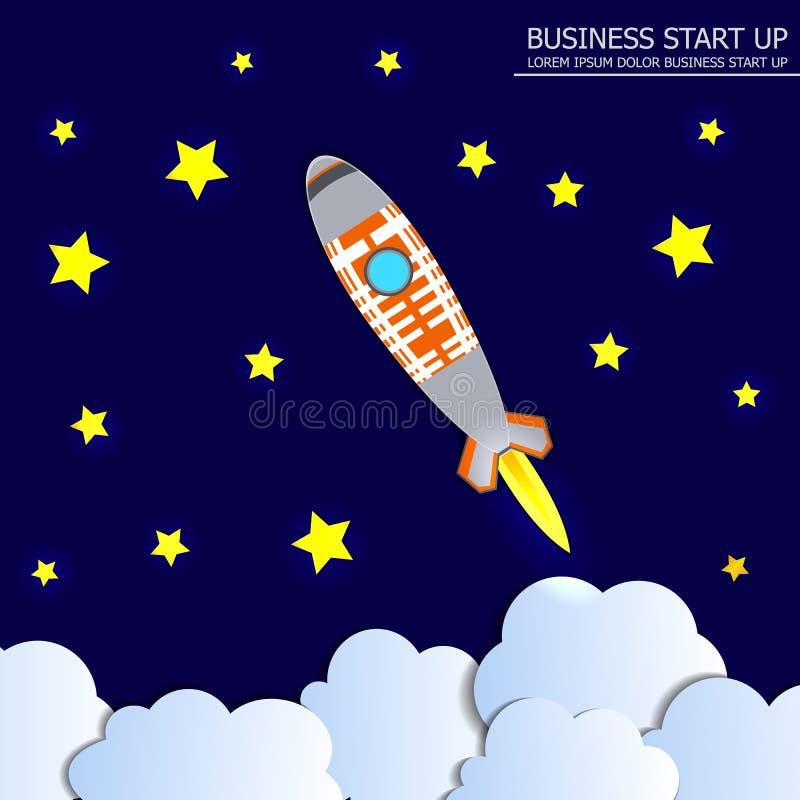 De vectorIllustratie van het Opstarten van bedrijvenconcept, Rocket Launch op Sterrige Hemel Donkere Achtergrond met Glanzende St royalty-vrije illustratie