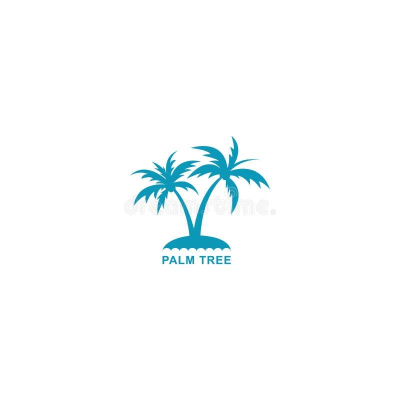 De vectorillustratie van het palmembleem, ontwerp twee silhouet blauwe palmen vector illustratie