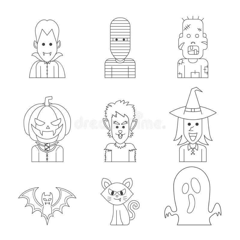 De vectorillustratie van het pictogramkarakter van Halloween-monsterkostuum royalty-vrije stock afbeelding