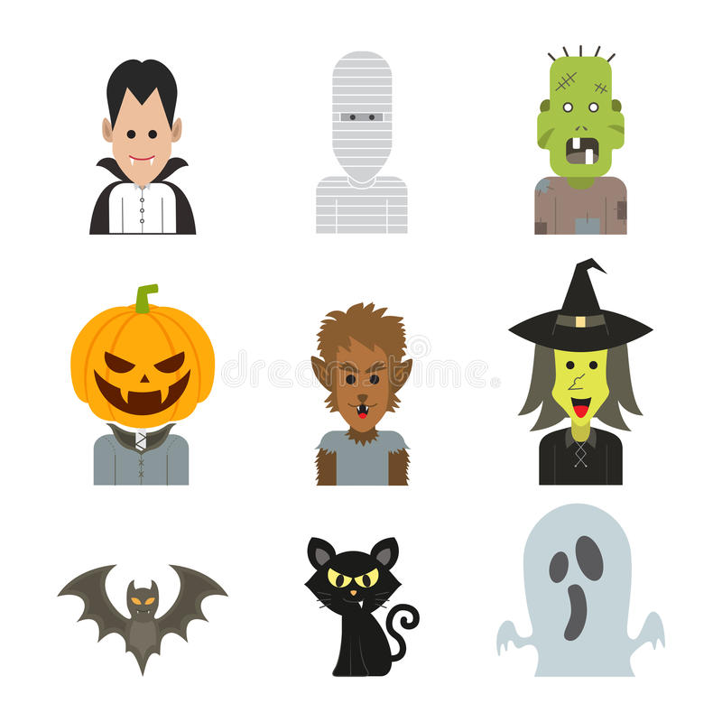 De vectorillustratie van het pictogramkarakter van Halloween-monsterkostuum royalty-vrije stock fotografie
