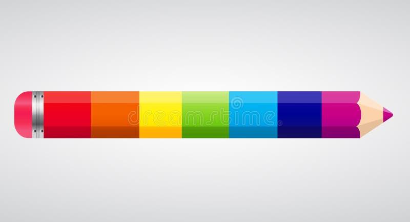 De Vectorillustratie van het regenboogpotlood vector illustratie