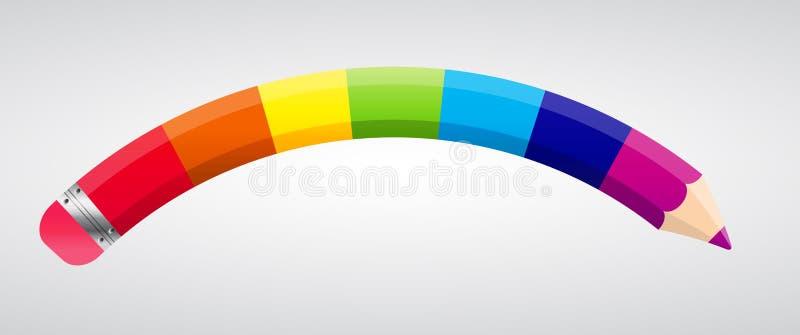De Vectorillustratie van het regenboogpotlood stock illustratie