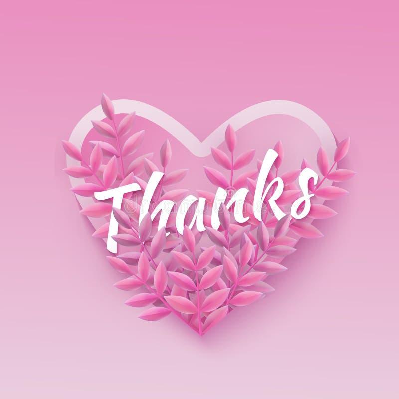 De vectorillustratie van het roze natuurlijke ontwerp van het Dankwoord met hartvorm en installatie gaat weg vector illustratie