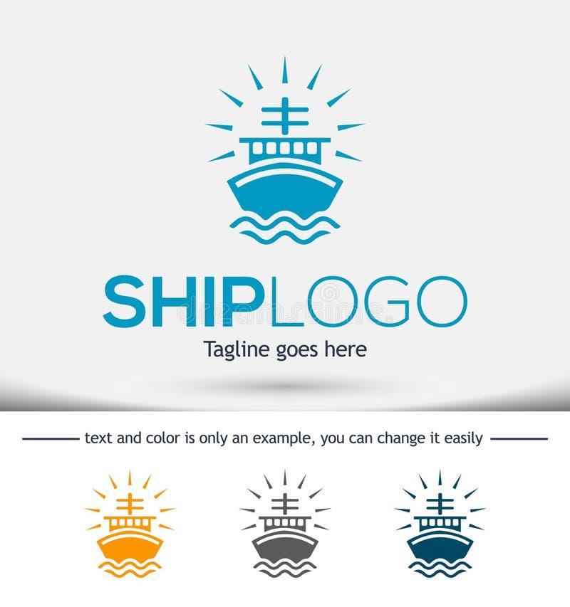 De vectorillustratie van het schipembleem, het ontwerpmalplaatje van het Schipembleem stock afbeeldingen