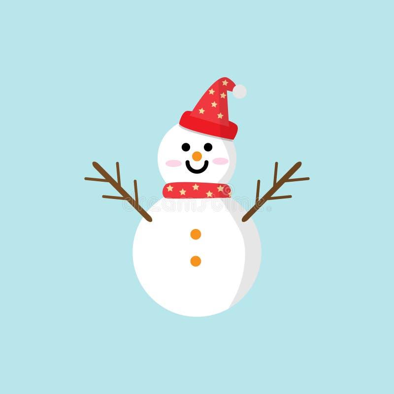 De vectorillustratie van het sneeuwmanpictogram in vlakke stijl Kerstmis en Nieuwjaarelementen voor decoratie stock illustratie